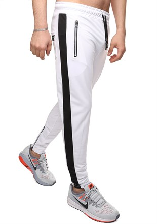 Madmext Striped White  Joggers 2420