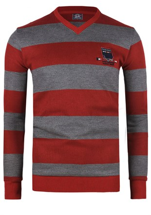 Madmext Striped Burgundy Sweater 1350