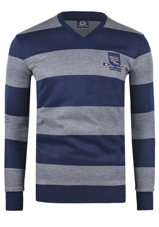 Madmext Striped Navy Blue Sweater 1350