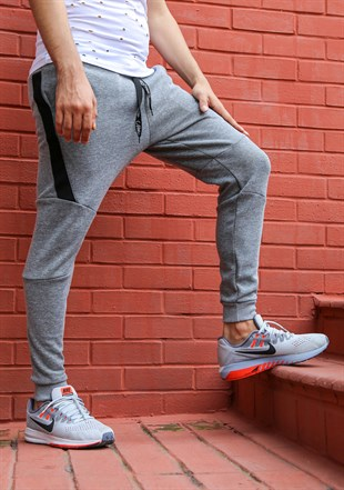 Mens Sweatpant In Printed Design Grey Color 2711