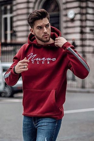 Bordo Kapşonlu Sweatshirt 2866