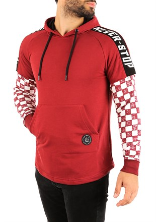Burgundy Long Sleeve checkered hoodies 2749