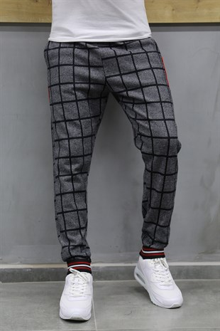 Mens Sweatpant In Plaid Design Smoked Color TR 95
