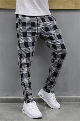 Mens Sweatpant In Plaid Design Smoked ColorTR 75