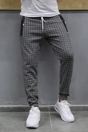 Mens Sweatpant In Plaid Design Smoked ColorTR 136