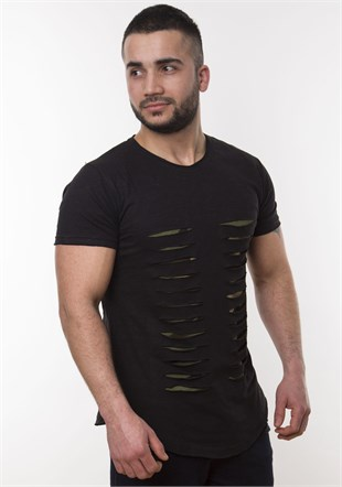 Black T-Shirt With Rip Detail