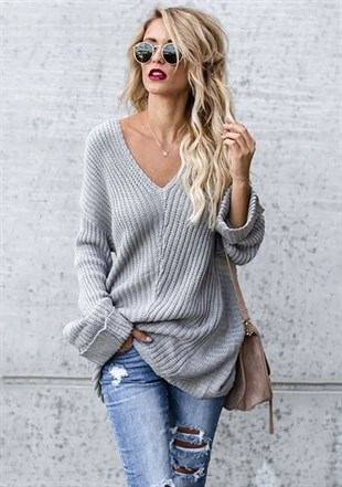 Gray V-neck Low-sleeve Women knitwear 2855