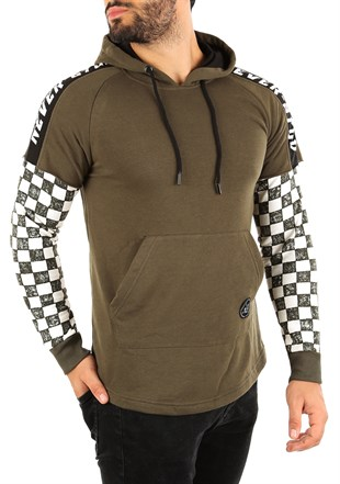 Khaki Long Sleeve checkered hoodies 2749