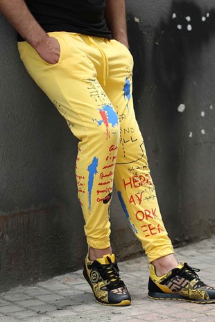 Printed Men Sweatpants İn Yellow
