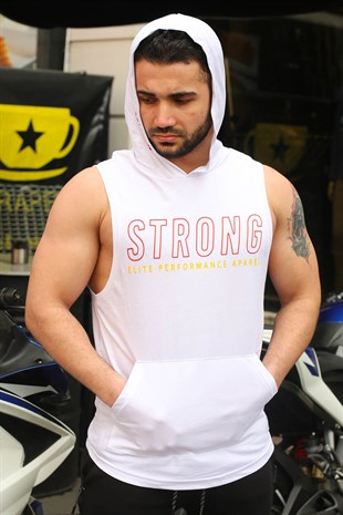 Sleeveless T-Shirt In Hooded White 2992