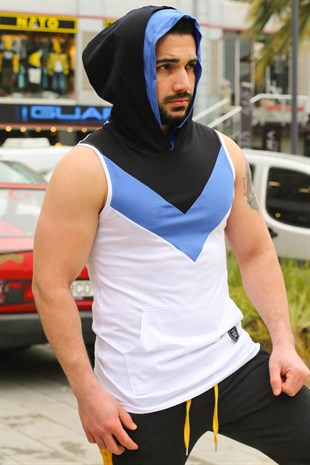 Sleeveless T-Shirt In Hooded White 2897