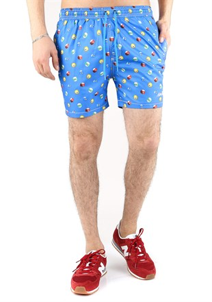 Madmext Patterned Blue Shorts 2364