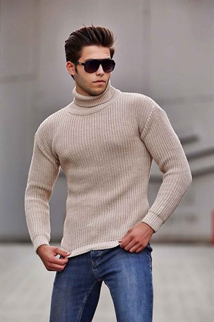 Madmext Camel Turtleneck Sweater 4368