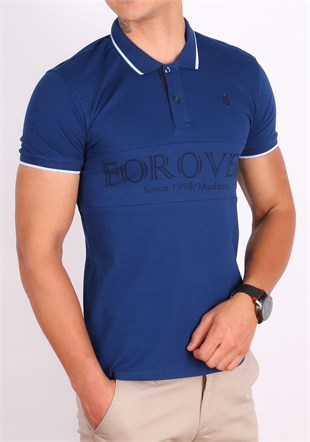 Madmext Navy Blue Polo Shirt 1874