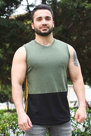 Sleeveless T-Shirt In Color Design For Khaki Color 2980