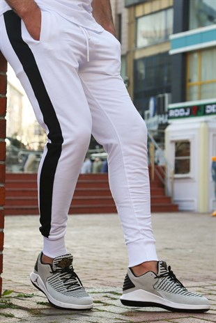 Mens Sweatpants In Striped Design White Color 2926
