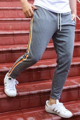 Mens Sweatpant In Striped Design Smoked Color 2918
