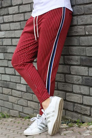 Mens Sweatpant In Striped Design Burgundy Color 2918