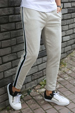 Mens Sweatpant In Striped Design Grey Color 2918