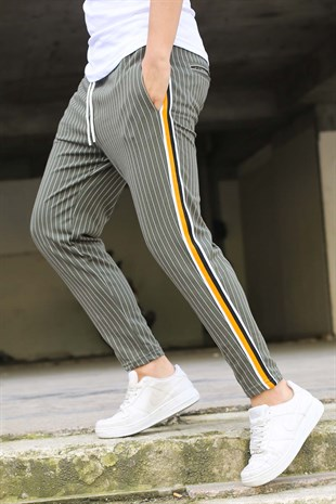 Mens Sweatpant In Striped Design Khaki Color 2918