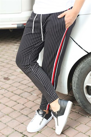Mens Sweatpant In Striped Design Black Color 2918