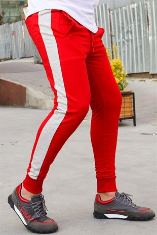 Mens Sweatpants In Striped Design Red Color 2926