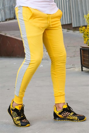 Mens Sweatpants In Striped Design Yellow Color 2926