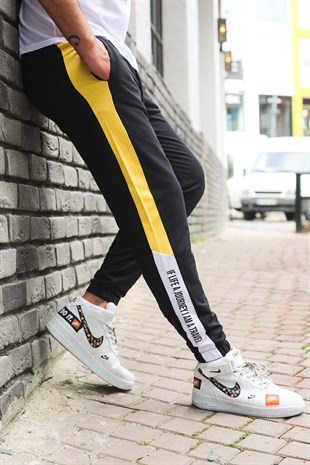 Mens Sweatpants In Striped Design Black Color 2928