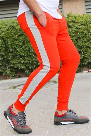 Mens Sweatpants In Striped Design Orange Color 2926