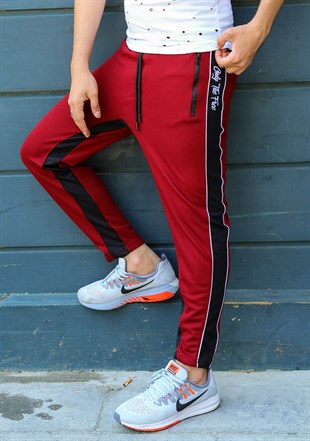 Mens Sweatpant In Striped Design Burgundy Color 2709
