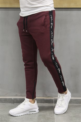 Mens Sweatpant In Striped Design Burgundy Color 2720