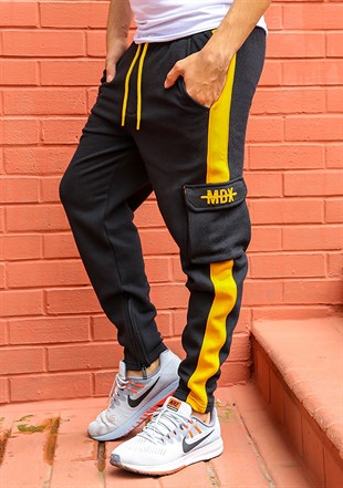 Mens Sweatpant In Striped Design Black Color 2717