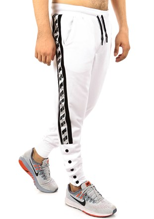 Mens Sweatpant In Striped Design White Color2708