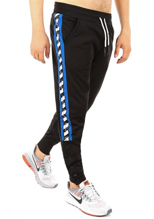 Mens Sweatpant In Striped Design Black Color2708