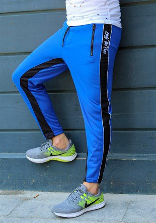 Mens Sweatpant In Striped Design Blue Color2709