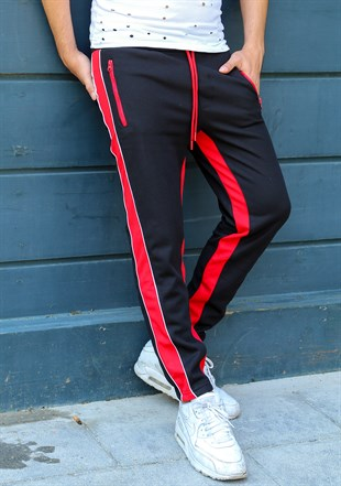 Mens Sweatpant In Striped Design Black Color 2709